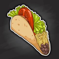 taco, color picture sticker