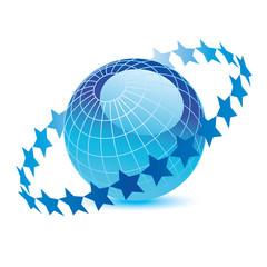 Blue Globe with ring of stars around it