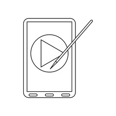 Digital tablet with a stylus icon, outline style