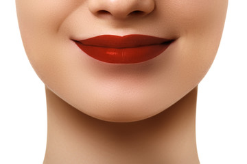 Close-up shot of woman lips with glossy red lipstick. Glamour red lips