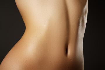 Beautiful woman show her tan slim body. Beautiful slim woman body