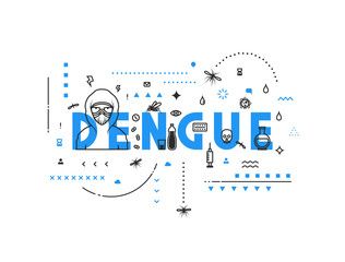 Design concept virus of dengue. Modern line style illustration. Concepts of words dengue, style thin line art, design banners for website and mobile website. Easy to edit.