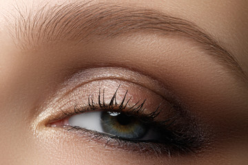 Eye makeup. Beautiful eyes make-up. Holiday makeup detail. Long lashes