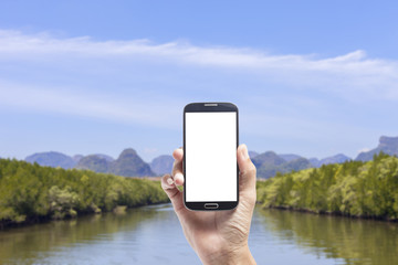Hand male asian holding Smartphone of mangrove forest background