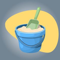 With sand bucket colorful icon