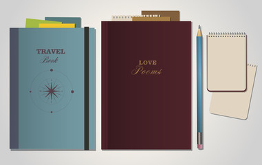 Book travel, book poems, notebook and pencil