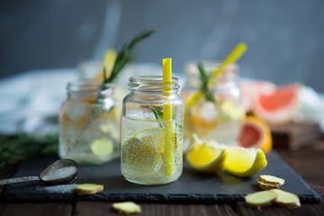 Lemonade with fresh lemons and grapefruit