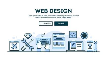 Web design, concept header, flat design thin line style