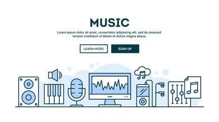Music production, concept header, flat design thin line style