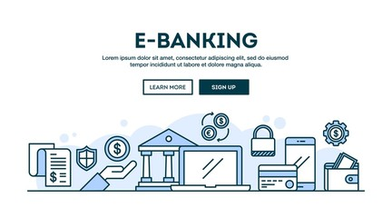 E-banking, concept header, flat design thin line style