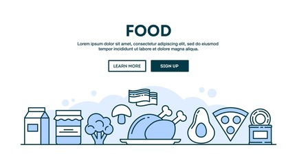 Food, concept header, flat design thin line style