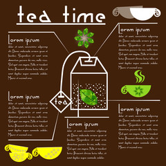Tea time info graphic Infographic about the tea bag with leaf tea in with descriptions of each element on the tea bag and icons