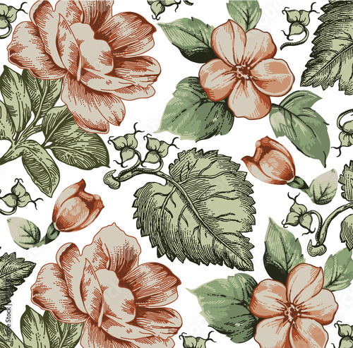 """Flowers. Apple Blossoms. Classic Pattern. Beautiful Pink"