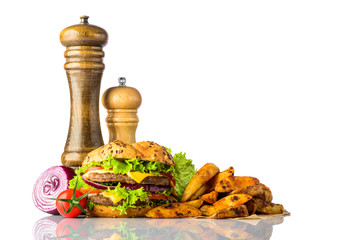 Burger And Fries with Copy Space on White Background