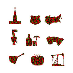 Russia symbol set. Russian national sign painted Khokhloma. Stat