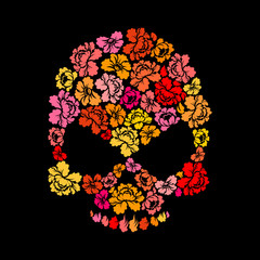 Rose skull on black background. Skeleton Head of flower petals.