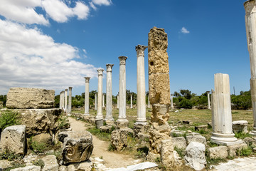 Ruins and ancient columns in the ancient city of Salamis in Fama