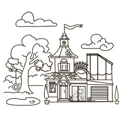 coloring picture house