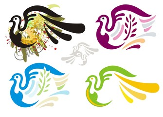 Grunge dove and colorful dove symbols