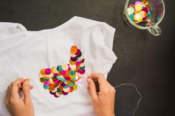 decorated with sequins t-shirt for gift