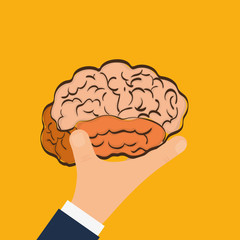 Human organ. Brain and hand  icon. vector graphic