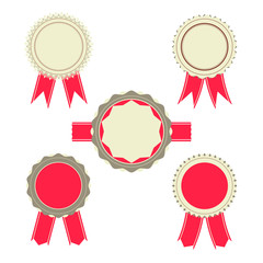 Retro Red color set of ribbon, banner, badges and design element