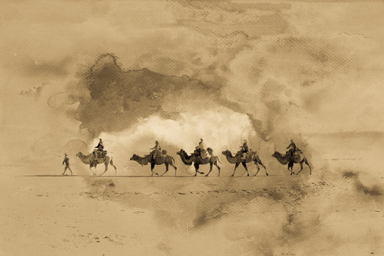 Antique silk road image with grain, mixed photograph with painted watercolor on paper
