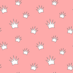 cute cartoon white crown on pink background seamless vector pattern illustration