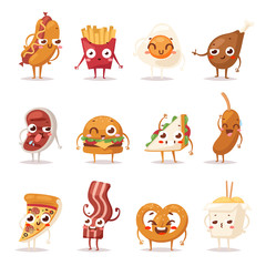 Fast food emotion vector illustration.
