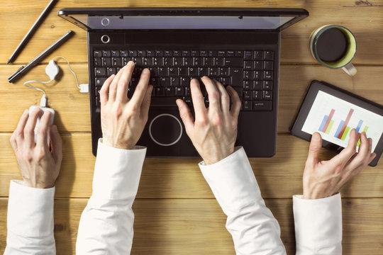 multitasking businessman / overhead of office life of a businessman