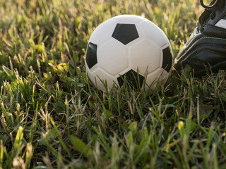 Ball at the kickoff of a football or soccer game. Natural sunset light. Grass background