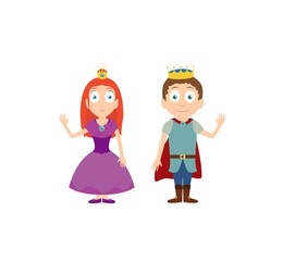 Cartoon characters of princess and prince isolated on white.