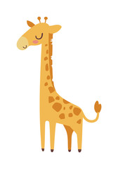 Cute giraffe cartoon vector illustration.