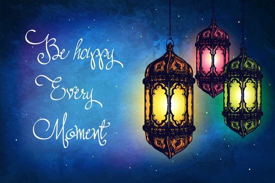 Amazing moroccan vintage lanterns at magical night sky background. Unusual vector illustration. Inspiration card. Festive hanging arabic lamps.