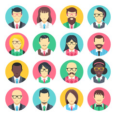 People avatars set. Flat design people icons set isolated on white background. Vector icons
