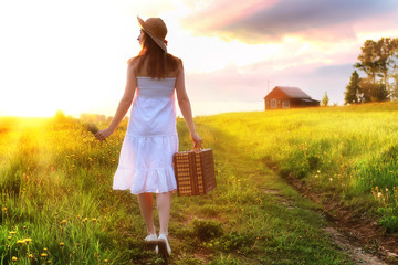 girl at sunset field