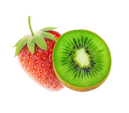 Isolated kiwi and strawberry