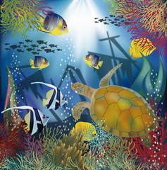 Underwater wallpaper with sea turtle, vector illustration