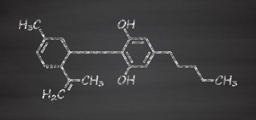 Cannabidiol (CBD) cannabis molecule. Has antipsychotic effects.
