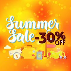 Summer Sale 30 Off Lettering over Orange Blurred Background