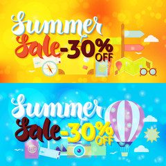 Summer Sale 30 Off Web Banners over Travel Blurred Background