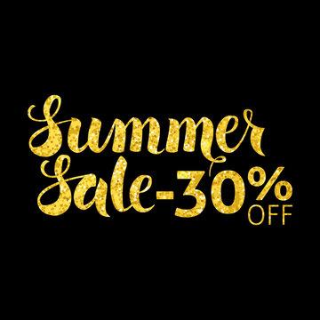 Gold Summer Sale 30 Off Lettering over Black
