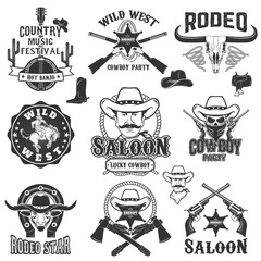 Cowboy rodeo, wild west labels. Country music party.