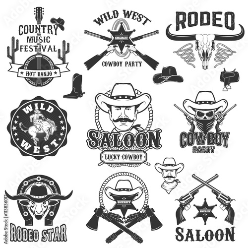 Cowboy Rodeo Wild West Labels Country Music Party
