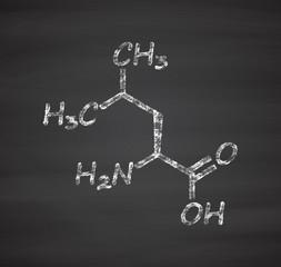 Leucine (l-leucine, Leu, L) amino acid molecule.