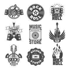 Set of rock music labels, badges and design elements.