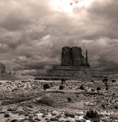 Fototapete - Sepia Toned Monument Valley Cloudy Skies