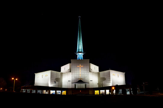 The basilica of Our Lady of Knock in Knock, Ireland, lit at night