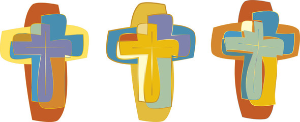 Cross - modern abstract vector graphic elements for Church logo or design