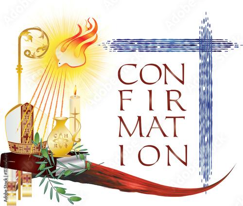 Sacrament Of Confirmation Symbolic Vector Drawing Illustration